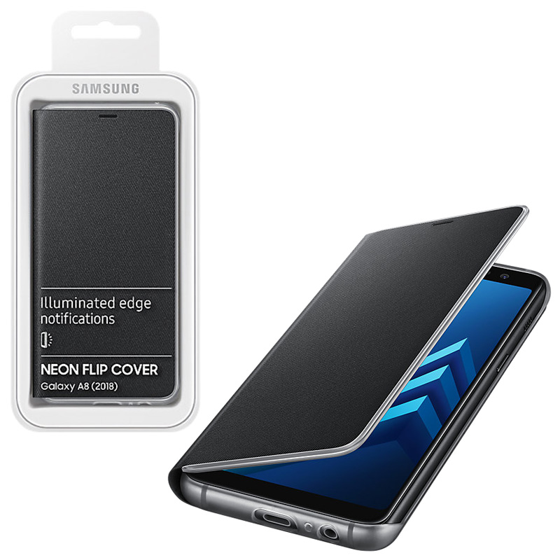 5d556a2d379 Details about Genuine Original Samsung A8 Illuminated Edge Neon Flip Cover  EF-FA530PBEGWW